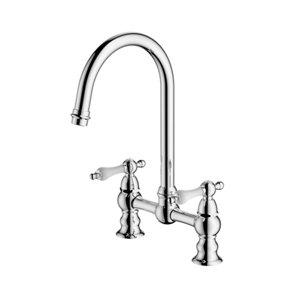 Image of Cooke & Lewis Sherrard Chrome effect Kitchen Deck bridge Mixer tap