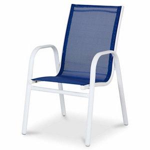 Janeiro Blue & White Metal Kids Armchair