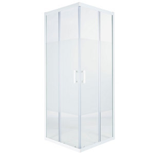 Image of Cooke & Lewis Onega Square Frosted effect Shower Enclosure with Corner entry double sliding door (W)800mm (D)800mm