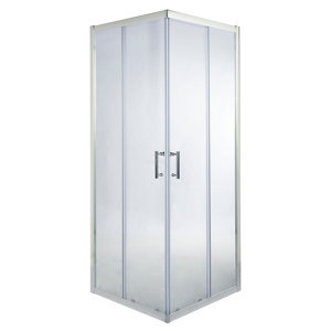 Image of Cooke & Lewis Onega Square Clear Shower Enclosure with Corner entry double sliding door (W)800mm (D)800mm