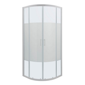 Image of Cooke & Lewis Onega Quadrant Frosted effect Shower Enclosure with Corner entry double sliding door (W)800mm (D)800mm