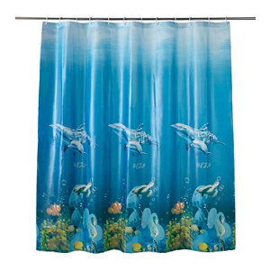 Image of Cooke & Lewis Andrano Multicolour Seafloor Shower curtain (L)1800mm