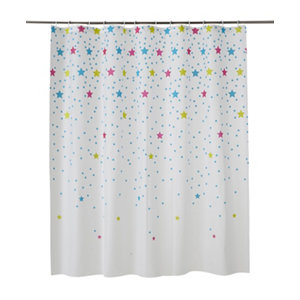 Image of Cooke & Lewis Bhama Multicolour Star Shower curtain (L)1800mm