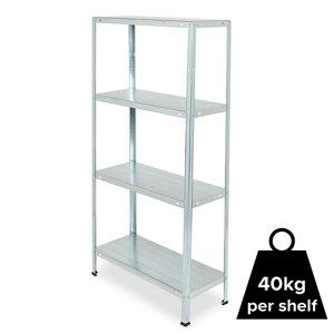 Image of 4 shelf Steel Shelving unit (H)1400mm (W)700mm
