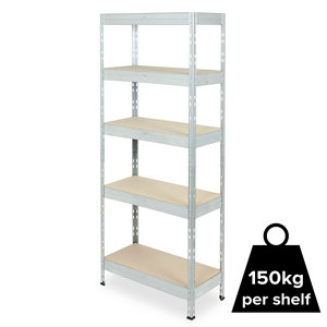 Image of Form Exa 5 shelf Medium-density fibreboard (MDF) & steel Shelving unit (H)1800mm (W)750mm