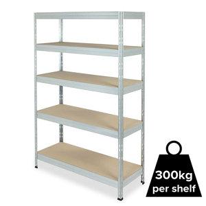Image of Form Exa 5 shelf Medium-density fibreboard (MDF) & steel Shelving unit (H)1800mm (W)1200mm