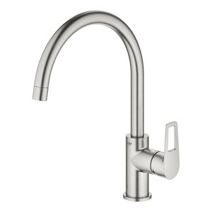 Grohe Start loop Stainless steel effect Kitchen Deck Tap
