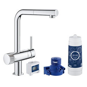 Image of Grohe Blue Pure Chrome-plated Kitchen Side lever pull out Tap
