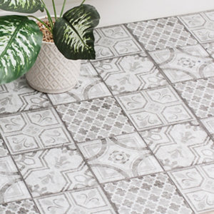 Image of D-C-Fix Grey & white Moroccan Tile effect Self adhesive Vinyl tile Pack of 11