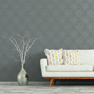 Image of As Creation Bjorn Grey Geometric Metallic effect Textured Wallpaper