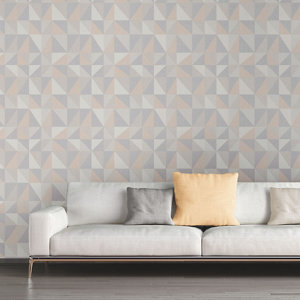 Image of As Creation Bjorn Grey & yellow Geometric 3D effect Textured Wallpaper
