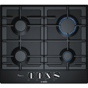 Image of Bosch PCP6A6B90 4 Burner Black Stainless steel Gas Hob