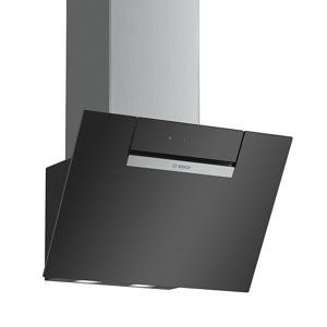 Image of Bosch DWK67EM60B Black Glass Angled Cooker hood (W)60cm