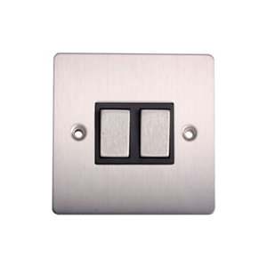 Image of Holder 10A 2 way Brushed stainless steel effect Double Light Switch