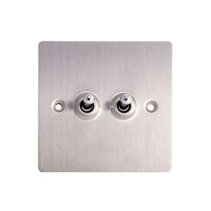 Image of Holder 10A 2 way Brushed stainless steel effect Double Toggle Switch