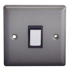 Image of Holder 10A 2 way Matt grey pewter effect Single Light Switch