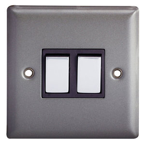 Image of Holder 10A 2 way Matt grey pewter effect Double Light Switch