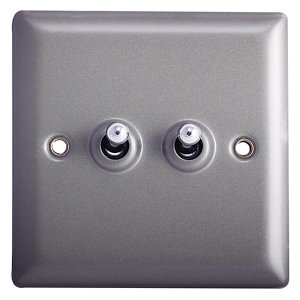 Image of Holder 10A 2 way Grey Pewter effect Single Light Switch