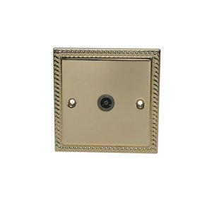 Image of Volex Brass effect Single Coaxial socket