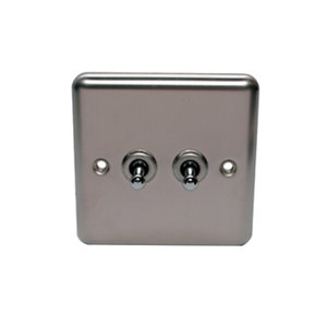 Image of Holder 10A 2 way Brushed stainless steel effect Single Toggle Switch