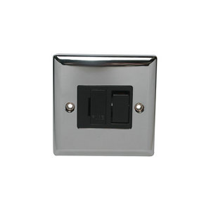 Image of Holder 13A 1 way Polished chrome effect Single Fused Switch