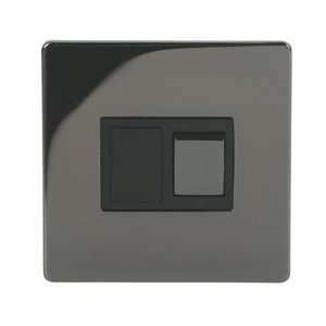 Image of Holder 13A 1 way Polished black iridium effect Single Fused Switch