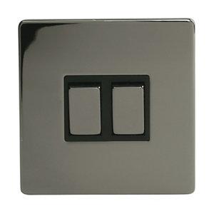 Image of Holder 10A 2 way Polished black iridium effect Double Light Switch