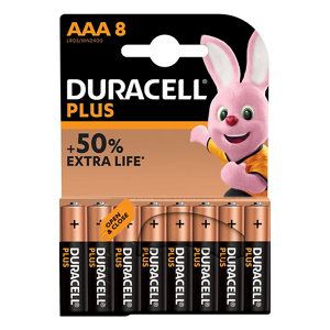 Image of Duracell Plus Non-rechargeable AAA Battery Pack of 8