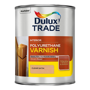 Image of Dulux Trade Clear Satin Wood varnish 1L