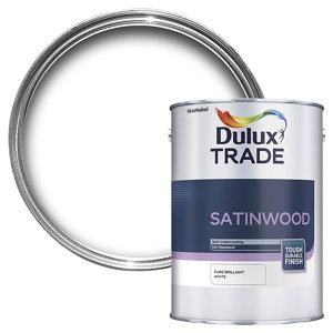 Image of Dulux Trade Brilliant white Satinwood Multi-surface paint 5L