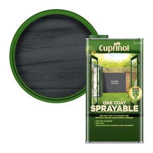 Image of Cuprinol One coat sprayable Silver copse Matt Fence & shed Treatment 5L
