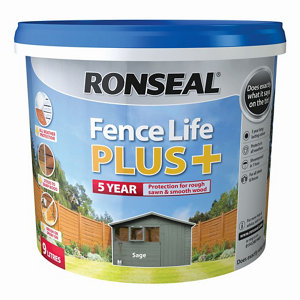 Ronseal Fence life plus Sage Matt Fence & shed Wood treatment 9L