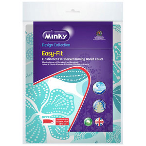 Image of Minky Easy fit Blue Elasticated Ironing board cover (L)122cm (W)38cm