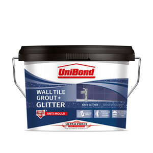 UniBond UltraForce Ready mixed Navy glitter Wall tile Grout  3.2kg Tub