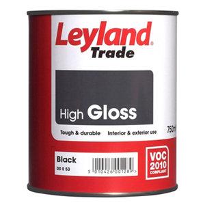 Image of Leyland Trade Black Gloss Metal & wood paint 0.75L