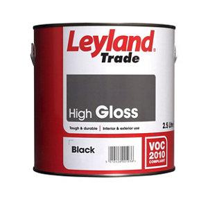 Image of Leyland Trade Black Gloss Metal & wood paint 2.5L