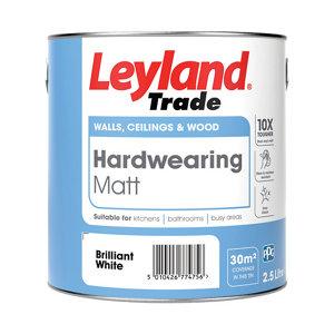 Image of Leyland Trade Brilliant white Matt Emulsion paint 2.5L