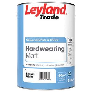 Image of Leyland Trade Brilliant white Matt Emulsion paint 5L