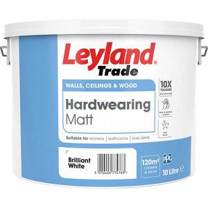 Image of Leyland Trade Brilliant white Matt Emulsion paint 10L