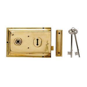 Image of Yale 43mm Polished Brass effect Metal Rim lock (H)104mm (L)156mm