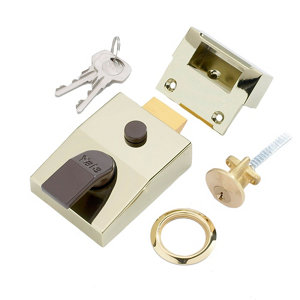 Image of Yale Brass effect LH & RH Deadlock Night latch (H)70mm (W)93mm
