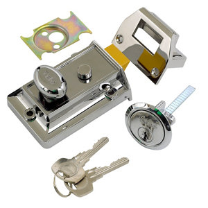 Image of Yale Chrome effect LH & RH Deadlock Night latch (H)66mm (W)93mm