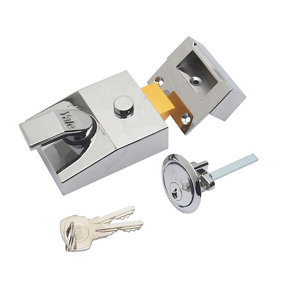 Image of Yale Chrome effect LH & RH Deadlock Night latch (H)70mm (W)62mm