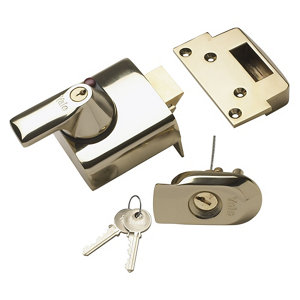 Image of Yale Brass effect Deadlock Night latch (H)90mm (W)90mm