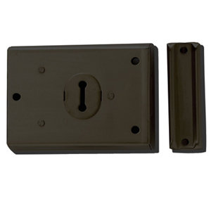 Image of Yale 46mm Black Metal Rim lock (H)76mm (L)102mm