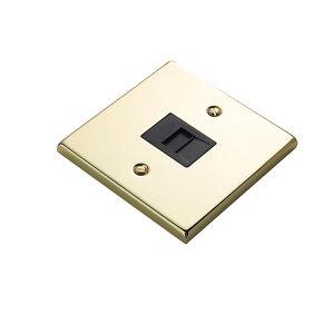 Image of 1 gang Raised Polished brass effect Telephone socket