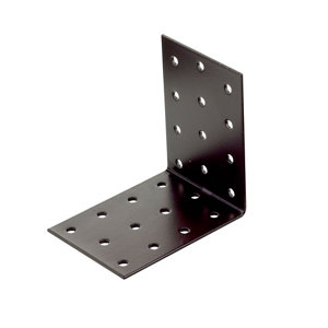Image of Abru Brown Powder-coated Steel Perforated Angle bracket (L)80mm