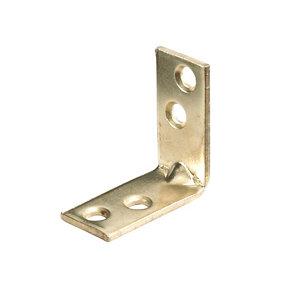 Image of Abru Brass effect Powder-coated Steel Light duty Angle bracket (L)30mm
