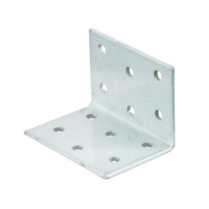 Image of Abru Chrome effect Powder-coated Steel Perforated Angle bracket (L)40mm