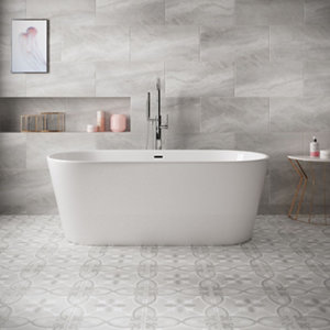 Image of Perla Grey Stone effect Ceramic Floor tile Pack of 5 (L)600mm (W)300mm